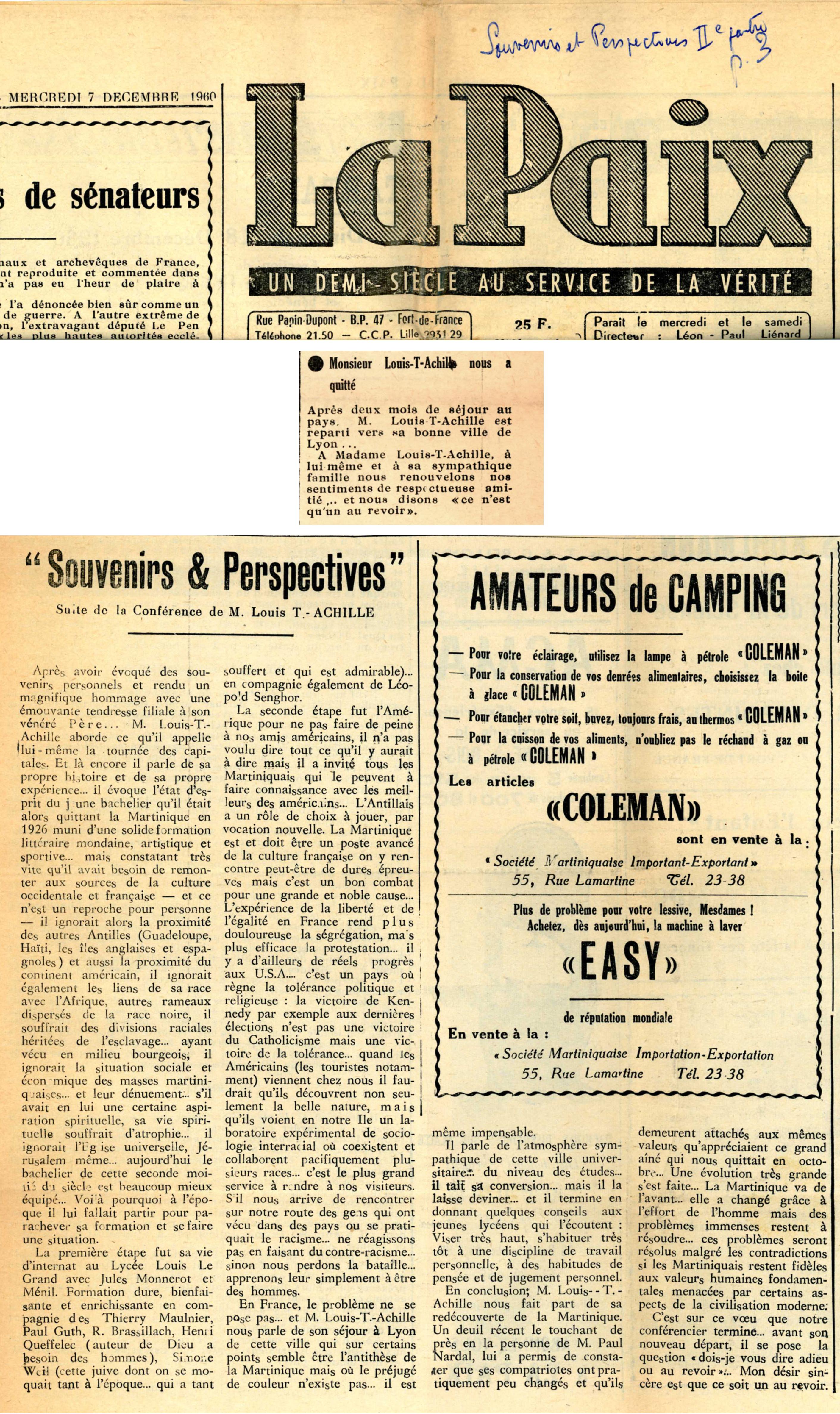"""article """"Souvenirs et perspectives"""" La Paix 7/12/1960"""
