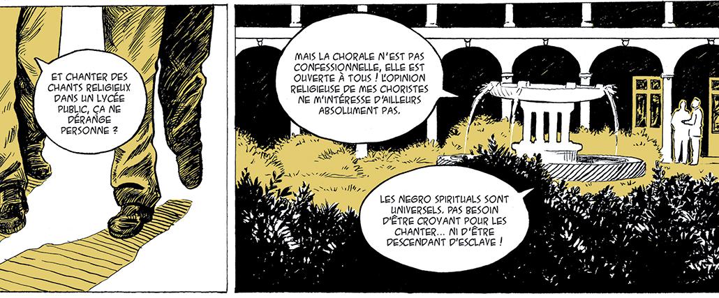 extrait de la BD « Louis Thomas Achille, de la Négritude aux Negro spirituals » in Les rues de Lyon n° 43 - juillet 2018