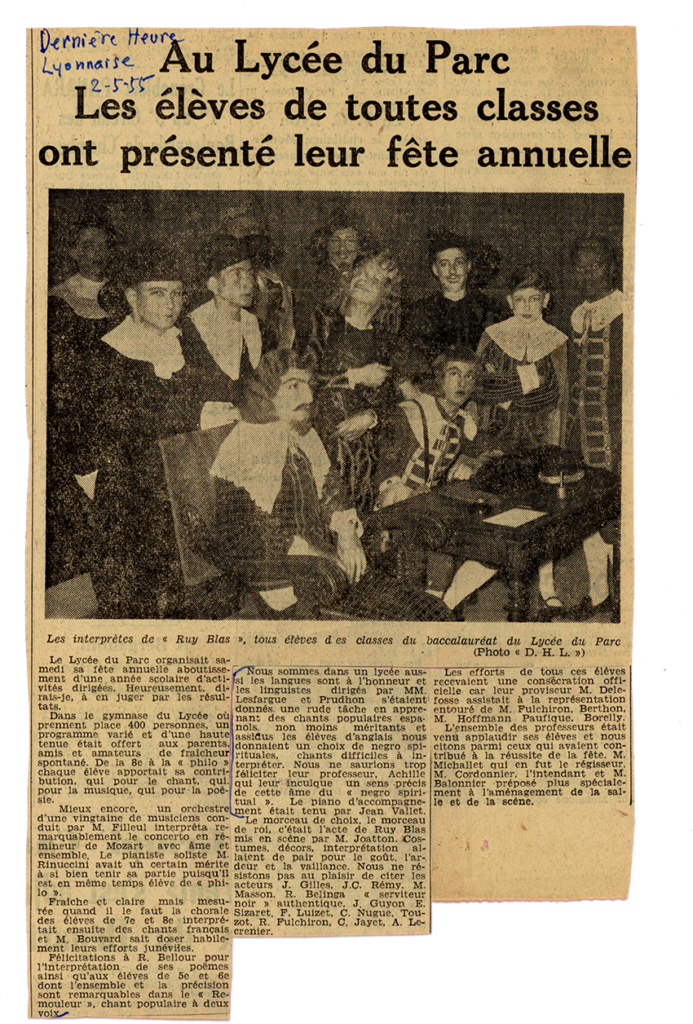 fête du lycée du Parc avec le Park Glee Club en 1955