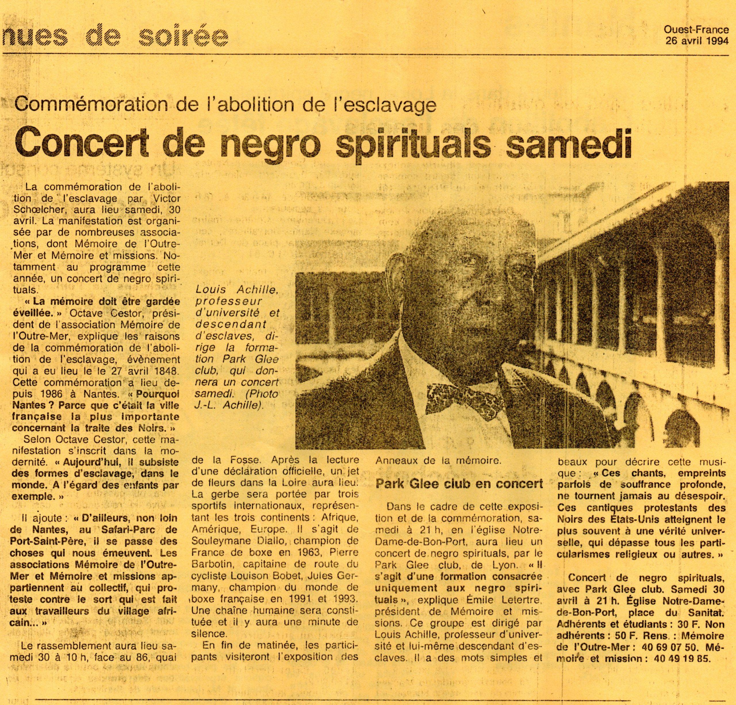annonce presse du concert de Negro spirituals à Nantes avril 1994