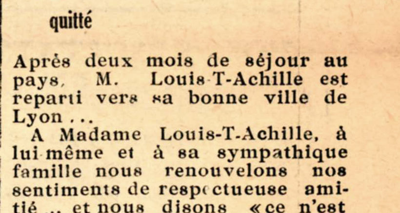 Monsieur Louis ACHILLE nous a quittés