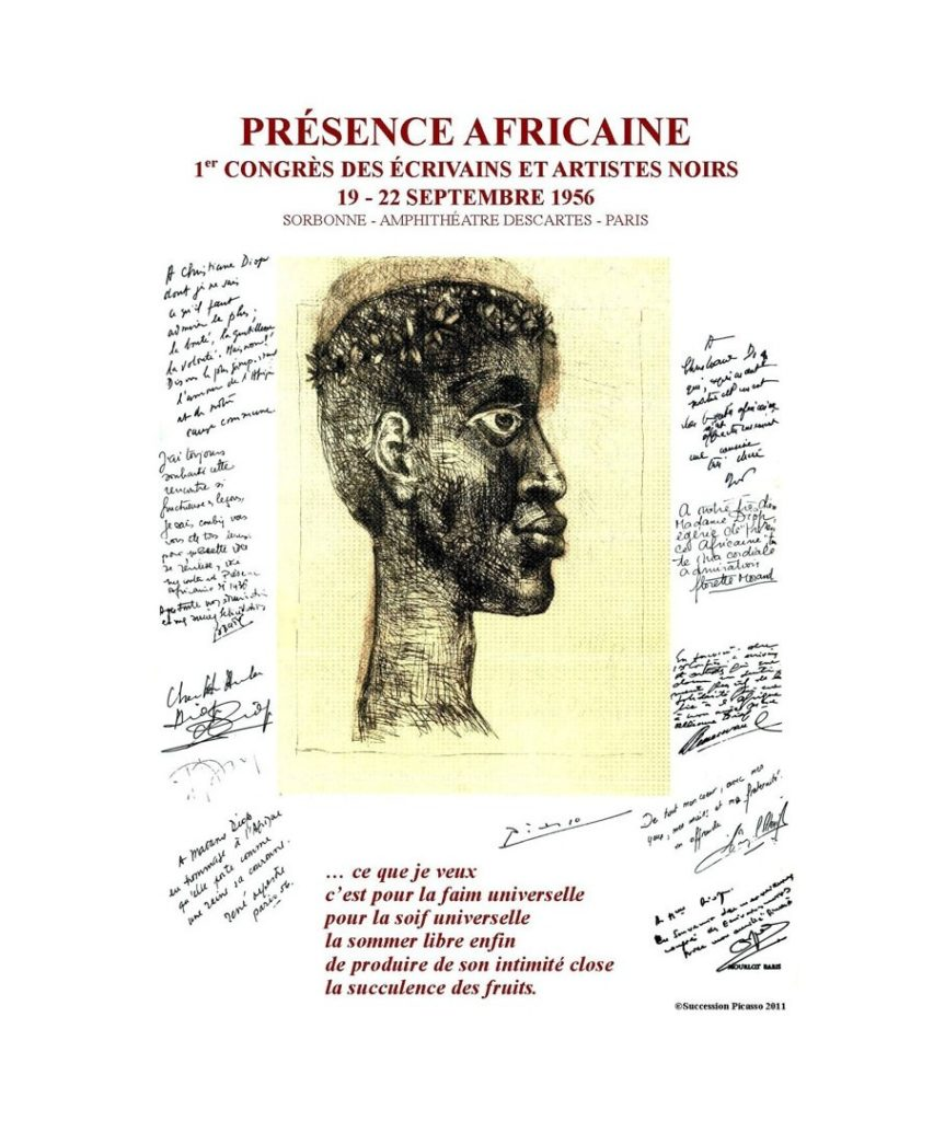 affiche du 1er congrès mondial des écrivains et artistes noirs à la Sorbonne du 19 au 22 septembre 1956